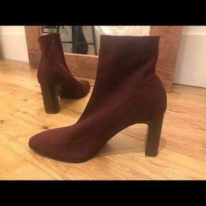 Zara Burgundy Heeled Sock Boots